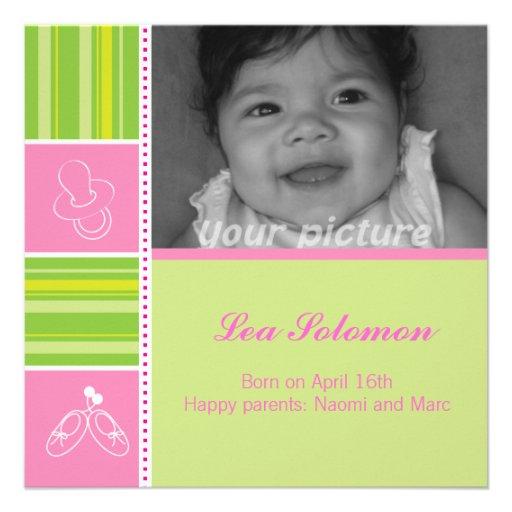 Rosa und grüne quadratische Geburtsmitteilungskart Einladung