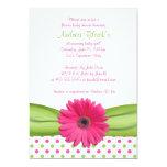 Rosa und grüne Tupfen-Babyparty-Einladung