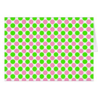 Rosa und grüne Tupfen Grußkarte