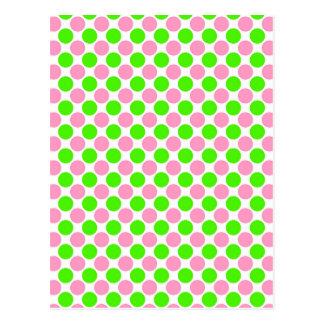 Rosa und grüne Tupfen Postkarte