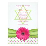 Rosa und grüne Tupfen-Schläger Mitzvah Einladung
