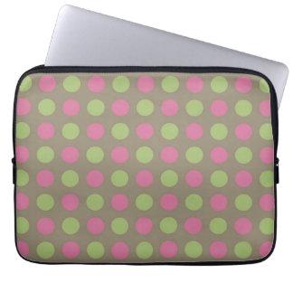 Rosa und grüne Tupfenlaptophülse Computer Schutzhülle