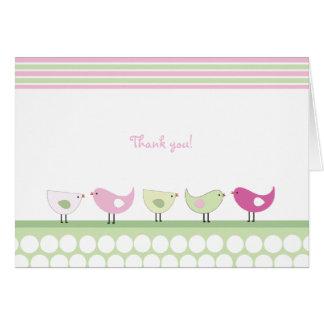 Rosa und grüne Vögel danken Ihnen Karte