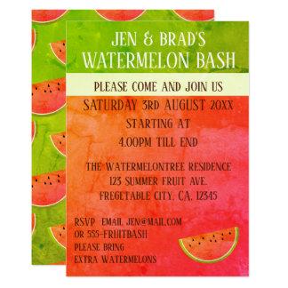 Rosa und grüne Wassermelone-Schlag-Party Einladung