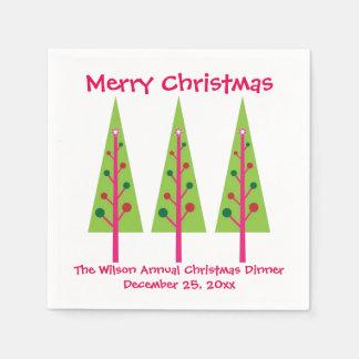 Rosa und grüne Weihnachtsbaum-Weihnachtsservietten Servietten