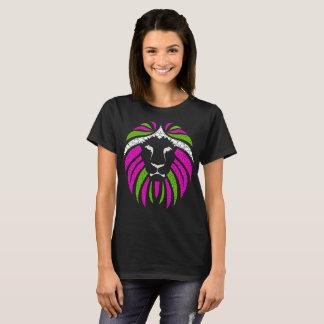 Rosa und grüner Löwe-T - Shirt (schwarzes Shirt)