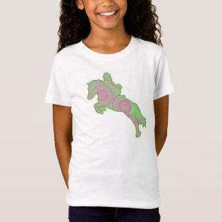 Rosa und grünes springendes Pony-Shirt Paisleys T-Shirt