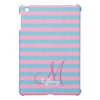 Rosa- und Himmelblauaqua-Glitter-Streifenmonogramm iPad Mini Schale