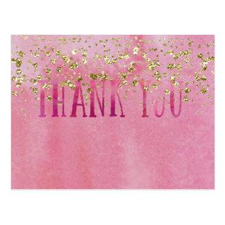 Rosa und hübscher Watercolor mit Goldschein Postkarte
