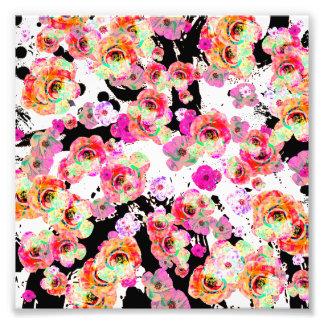 Rosa und korallenroter Frühling mit Blumen auf Fotodruck