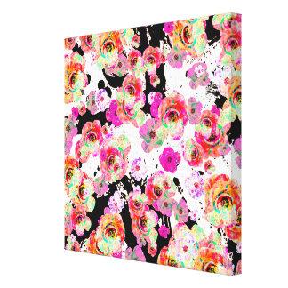 Rosa und korallenroter Frühling mit Blumen auf Leinwanddruck