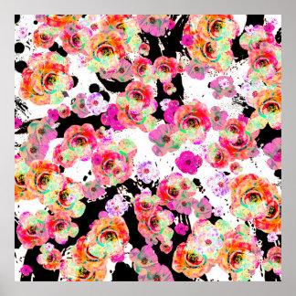 Rosa und korallenroter Frühling mit Blumen auf Poster