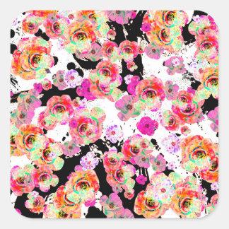 Rosa und korallenroter Frühling mit Blumen auf Quadratischer Aufkleber