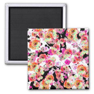 Rosa und korallenroter Frühling mit Blumen auf Quadratischer Magnet
