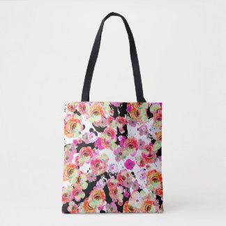 Rosa und korallenroter Frühling mit Blumen auf Tasche