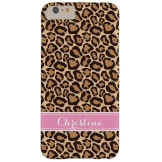 Rosa und Leopard-Druck-Gewohnheits-Monogramm Barely There iPhone 6 Plus Hülle