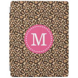 Rosa und Leopard-Druck-Gewohnheits-Monogramm iPad Smart Cover