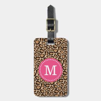 Rosa und Leopard-Druck-Gewohnheits-Monogramm Kofferanhänger
