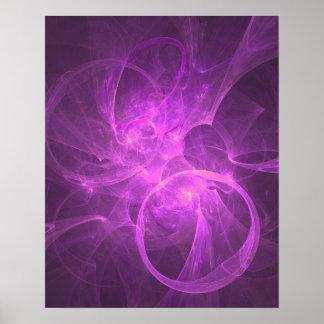 Rosa und lila abstraktes Fraktal mit Kreisen Poster