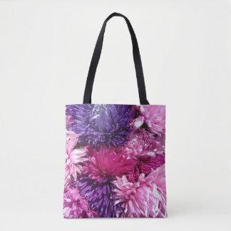 Rosa und lila Chrysanthemen Tasche