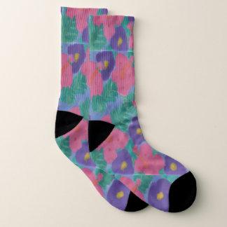 Rosa und lila Hibiskus-Druck-Socken Socken
