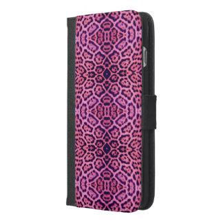 Rosa und lila Jaguar-Pelz iPhone 6/6s Plus Geldbeutel Hülle