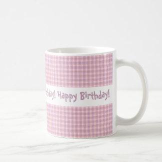 Rosa-und lila karierter Entwurfs-alles Gute zum Kaffeetasse