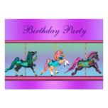 Rosa und lila Karussell-Pony-Geburtstags-Party Personalisierte Ankündigungskarte