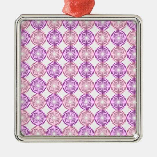 Rosa und lila Kreismuster Quadratisches Silberfarbenes Ornament