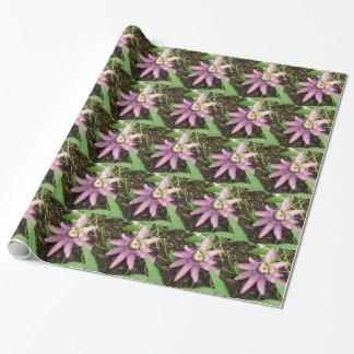Rosa und lila Passionflower-Verpackungs-Papier Geschenkpapier