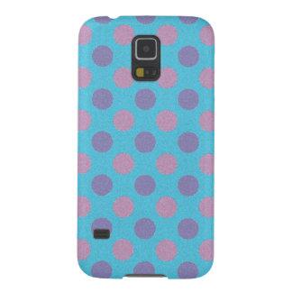 Rosa und lila Polkapunkte auf blauem Hintergrund Samsung S5 Cover