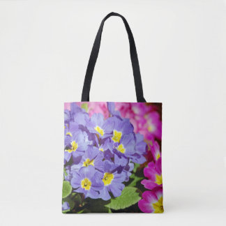 Rosa und lila Primeln Tasche
