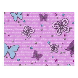 Rosa und lila Schmetterlings-Muster Postkarte