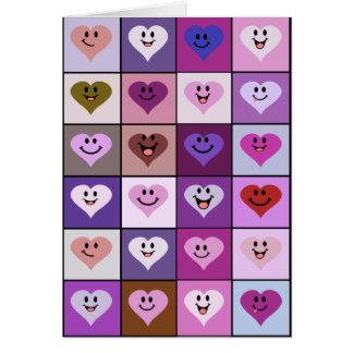 Rosa und lila smiley-Herzen Karte