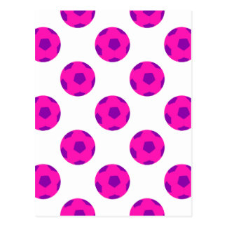 Rosa und lila Soccerball Muster Postkarte