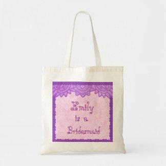 Rosa und lila Vintage Spitze-Brautjungfern-Tasche Budget Stoffbeutel