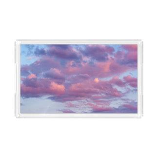 Rosa und lila Wolken Acryl Tablett