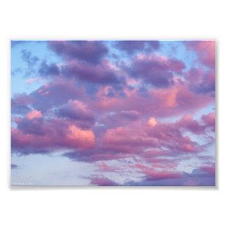 Rosa und lila Wolken Fotodruck