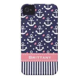 Rosa und Marine-Anker iPhone 4 Hüllen