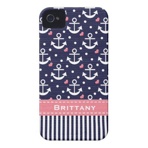 Rosa und Marine-Anker iPhone 4 Case-Mate Hüllen