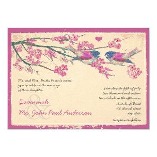 Rosa-und Marine-Liebe-Vogel-Kirschblüten-Hochzeit 12,7 X 17,8 Cm Einladungskarte