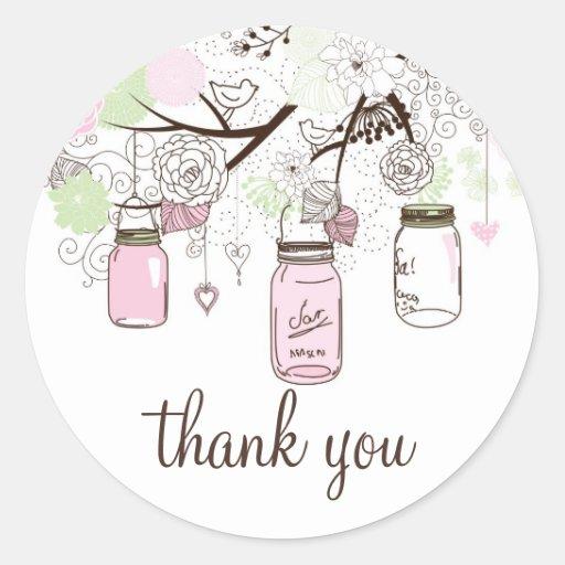 Rosa-und Minzen-grüne Weckgläser danken Ihnen Aufk Runder Sticker