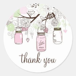 Rosa-und Minzen-grüne Weckgläser danken Ihnen Runder Aufkleber
