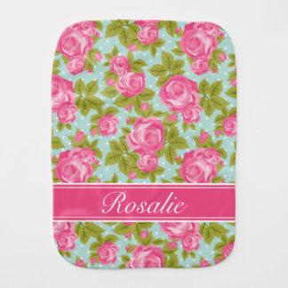 Rosa-und Minzen-Vintages Rosen-Monogramm Spucktuch