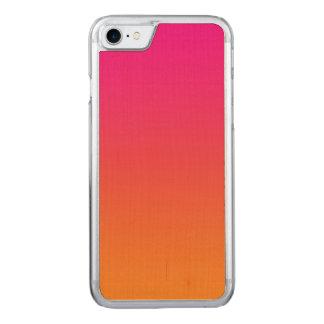 Rosa und orange Ahorn-Holz Carved iPhone 8/7 Hülle