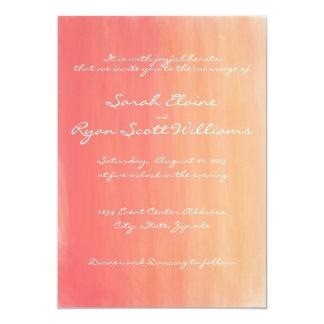 Rosa und orange Aquarell-Hochzeits-Einladung 12,7 X 17,8 Cm Einladungskarte