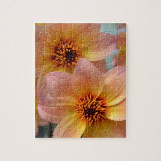 Rosa und orange Dahlie-Blumen Puzzle
