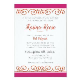 Rosa und orange gelockte Strudel-Schläger Mitzvah Karte
