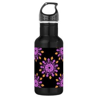 Rosa und orange NeonBlume Edelstahlflasche