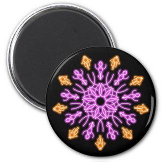 Rosa und orange NeonBlume Runder Magnet 5,1 Cm